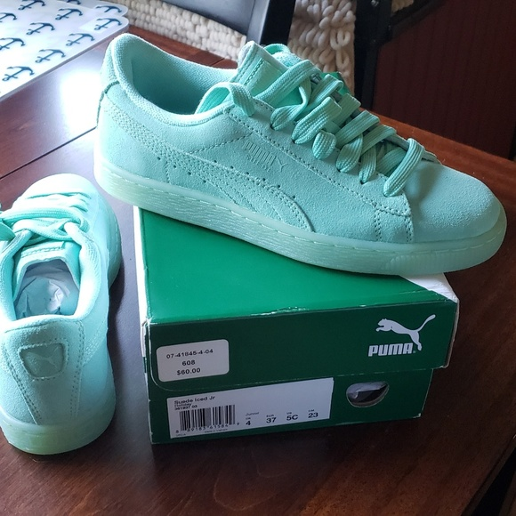 PUMA Suede Iced Junior Holiday Sneakers Mint C5W7 NWT